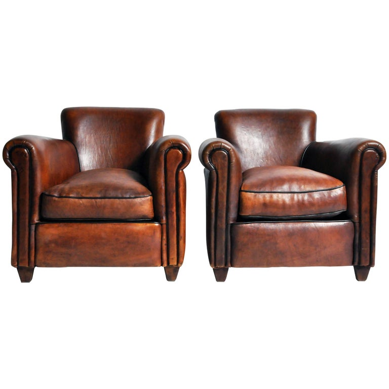 Pair of Parisian Dark Brown Leather Club Chairs with Dark Brown Piping
