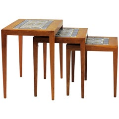 1960s Severin Hansen Jr. Nesting Tables in Oak and Ceramics, Royal Copenhagen