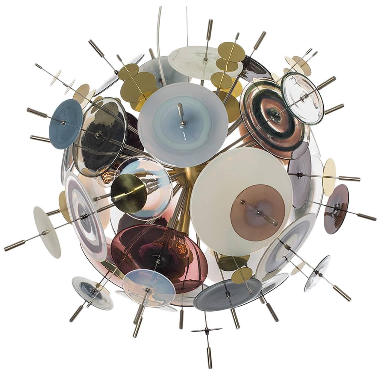 Confetti Glass Topaz and Ivory Chandelier by Avram Rusu Studio