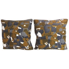 Pair of French Graphic Modern Linen Double Sided Decorative Pillows