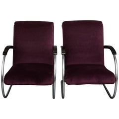 Pair of Art Deco Lloyd Lounge Chairs in Purple Velvet
