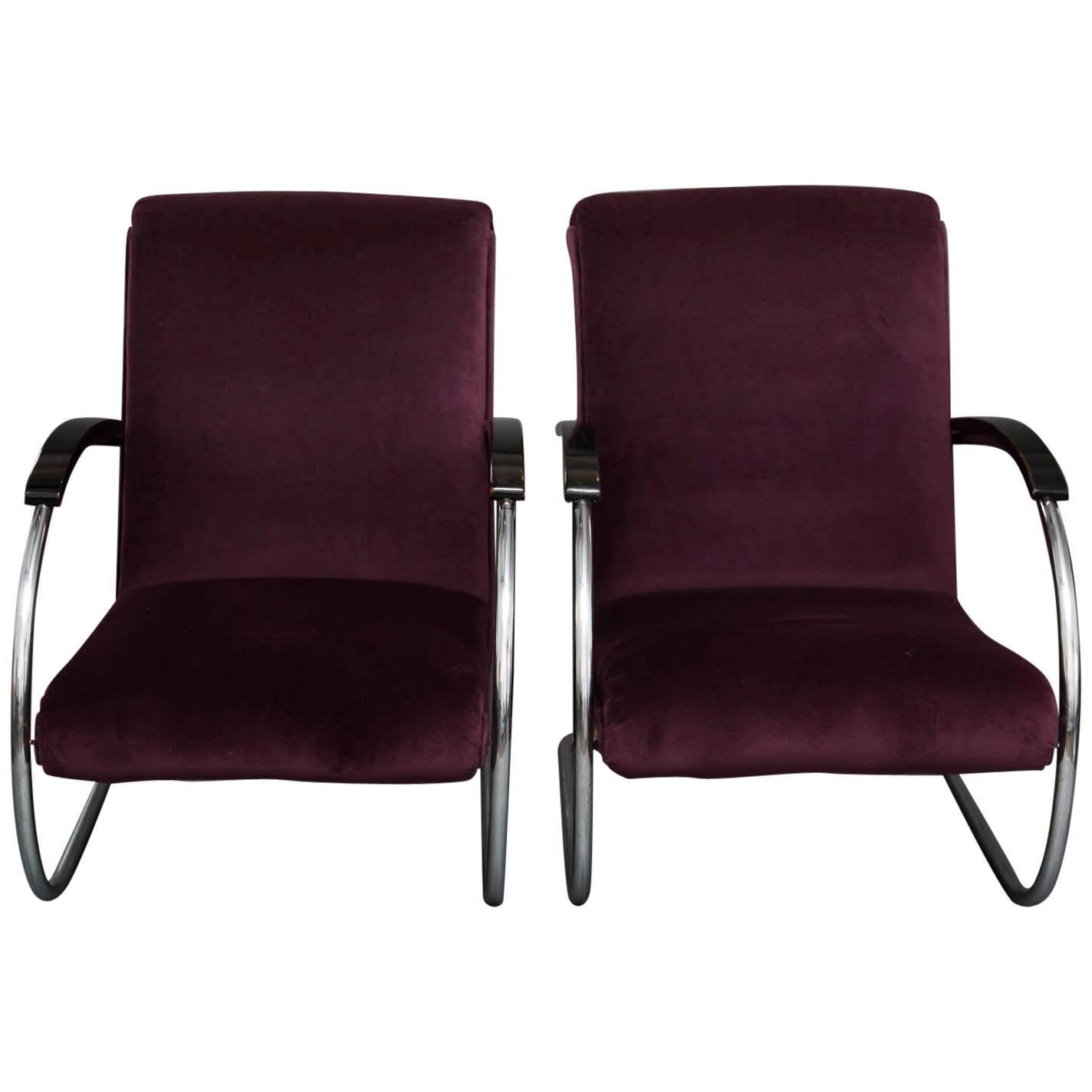Pair Of Art Deco Lloyd Lounge Chairs In Purple Velvet