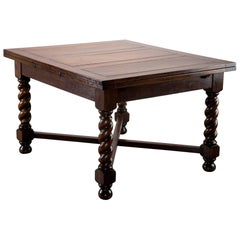 Dutch Oak Refectory Table with Large Barley Twist Legs