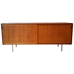 Florence Knoll Grasscloth Walnut, 1950s Credenza Cabinet