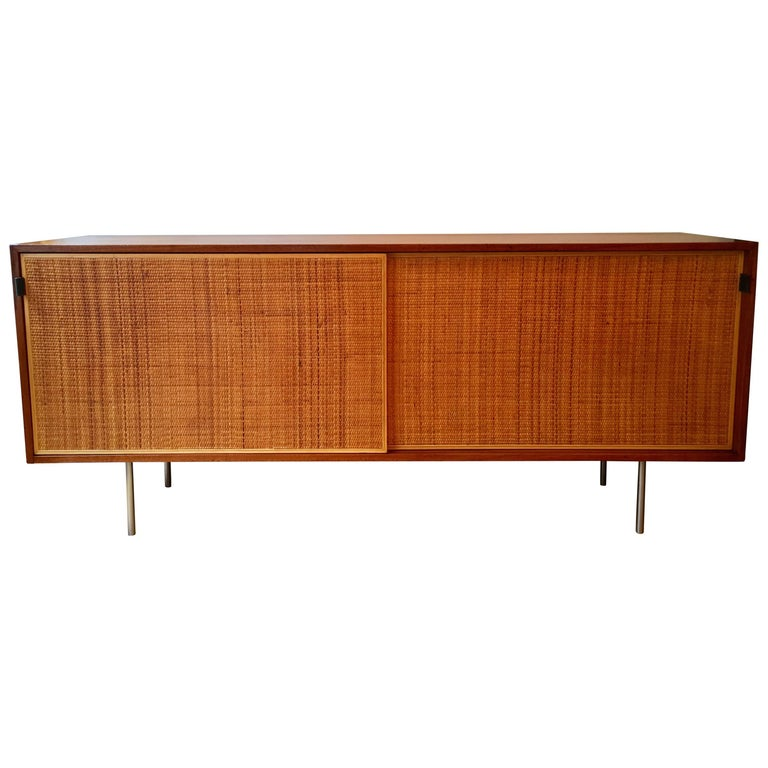 Florence Knoll Grasscloth Walnut, 1950s Credenza Cabinet For Sale