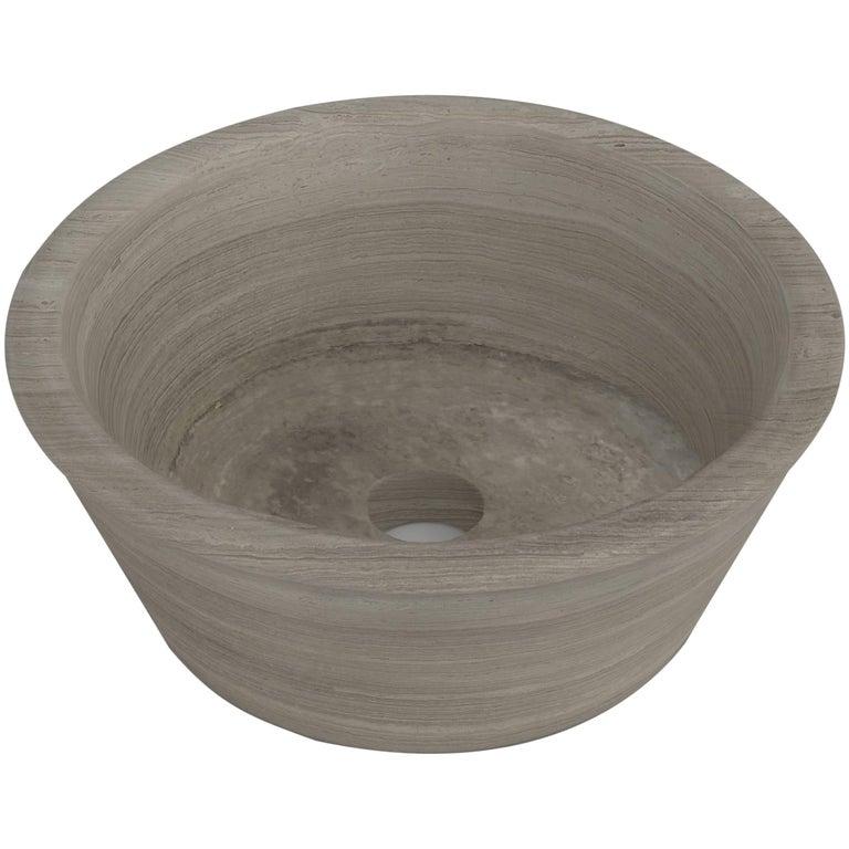Salvatori Bacinella Basin in Silk Georgette® Natural Stone For Sale