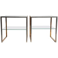 Pair of Brass and Chrome French Side Tables with Glass Shelves