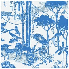 Jungle Dream Designer Screen Printed Wallpaper in Color Orinoco 'Blue on White'
