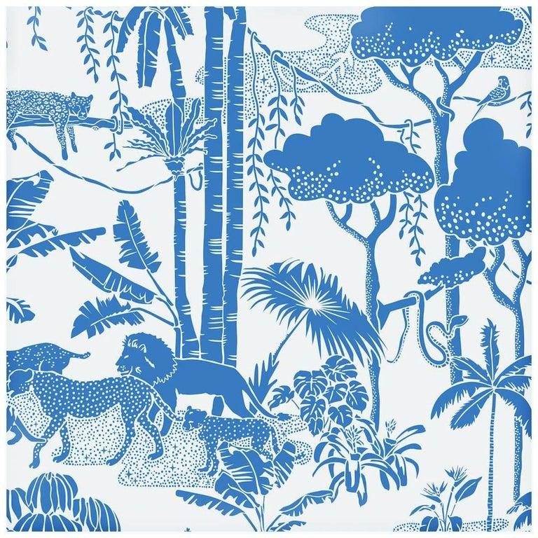 Jungle Dream Designer Screen Printed Wallpaper in Color Orinoco 'Blue on White' For Sale