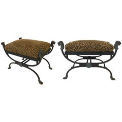 Pair of Bronze and Wrought Iron Stools Giacometti Style
