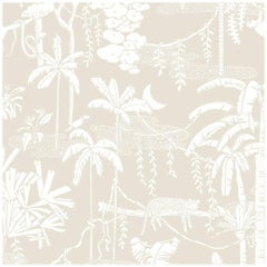 Jungle Dream Designer Wallpaper in Parchment 'White on Warm Neutral'
