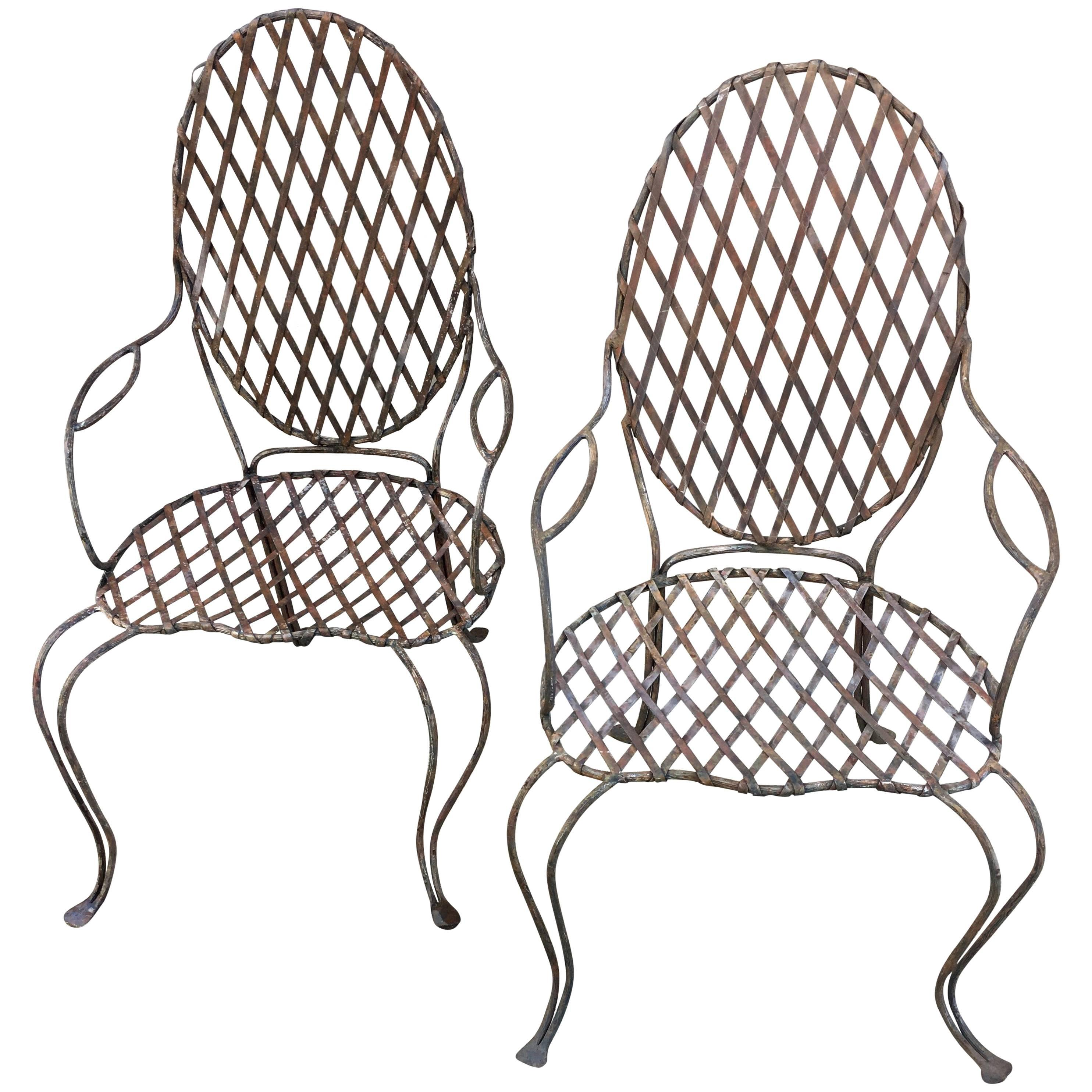 Pair Of Twig Iron Outdoor Chairs By Rose Tarlow Melrose House For Sale