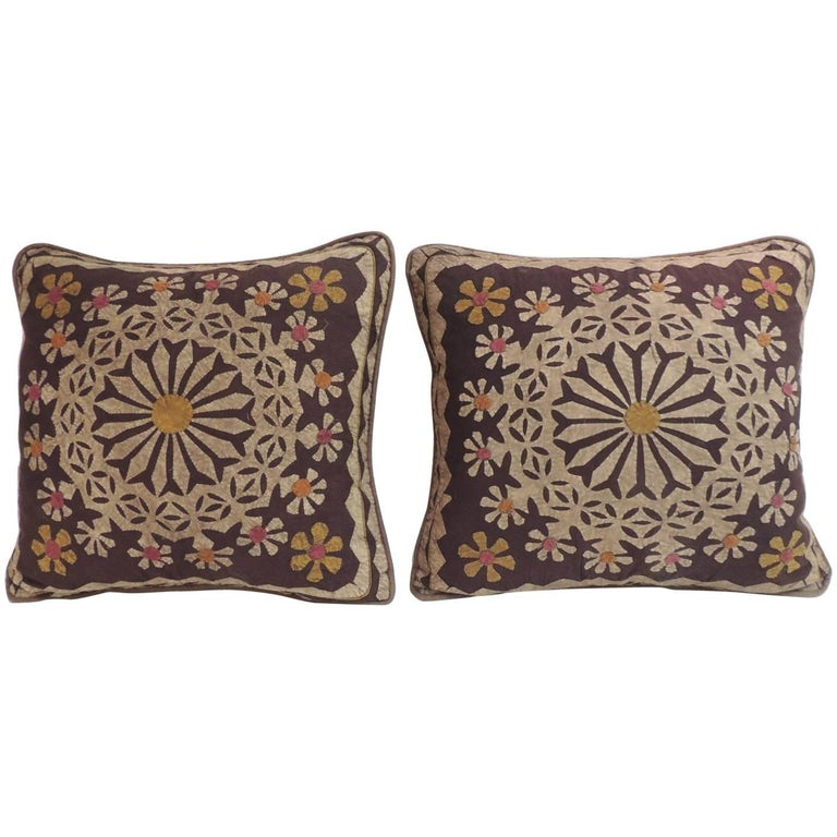 Pair of Vintage Cut-Out Brown Cotton Decorative Pillows For Sale at 1stdibs