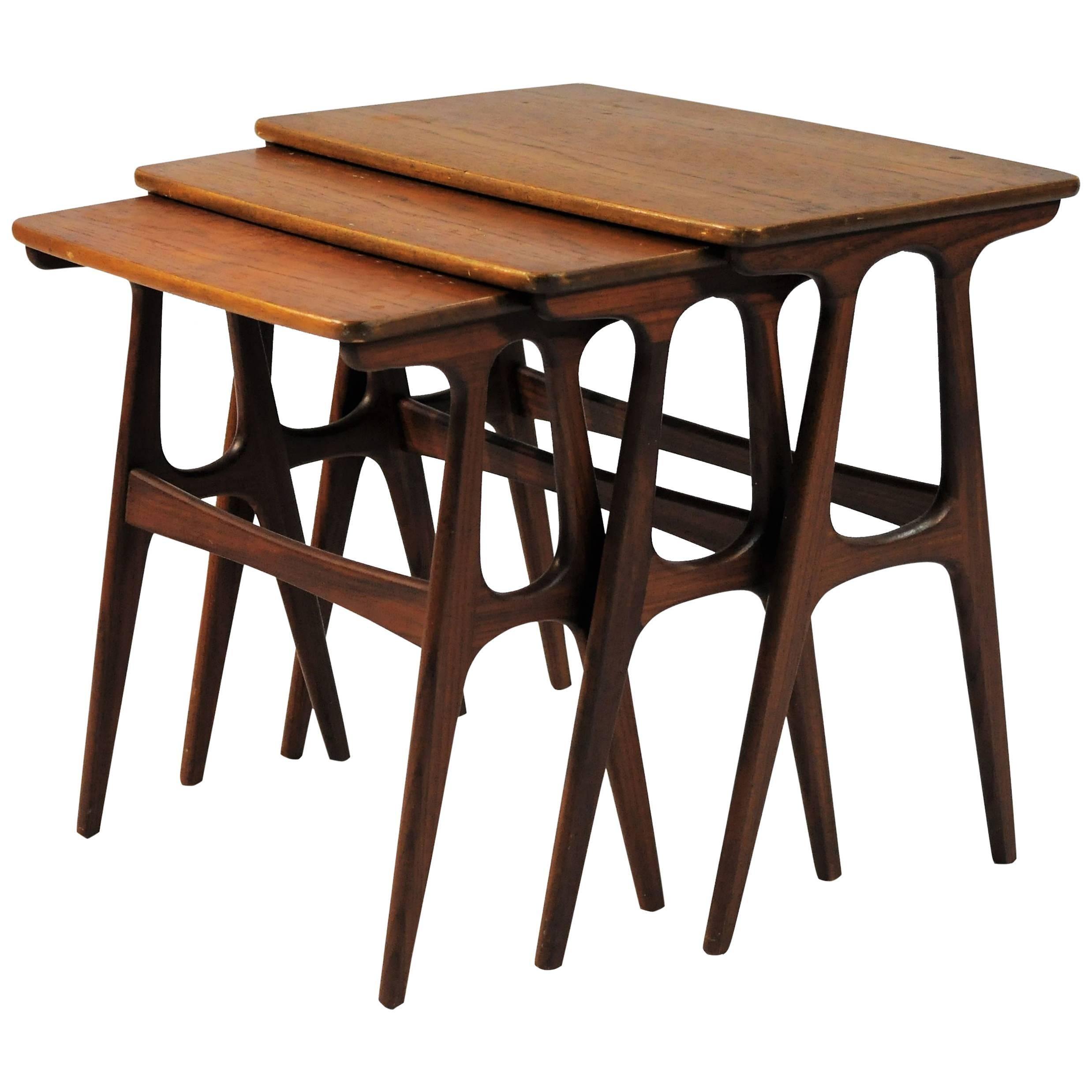 1960s Set of Danish Nesting Tables in Teak