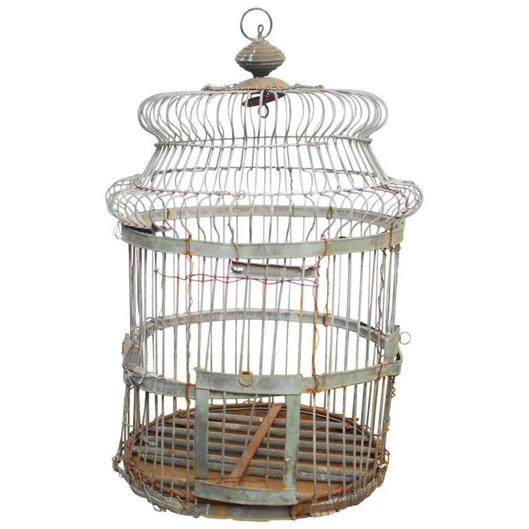 19th Century French Zinc Bird Cage