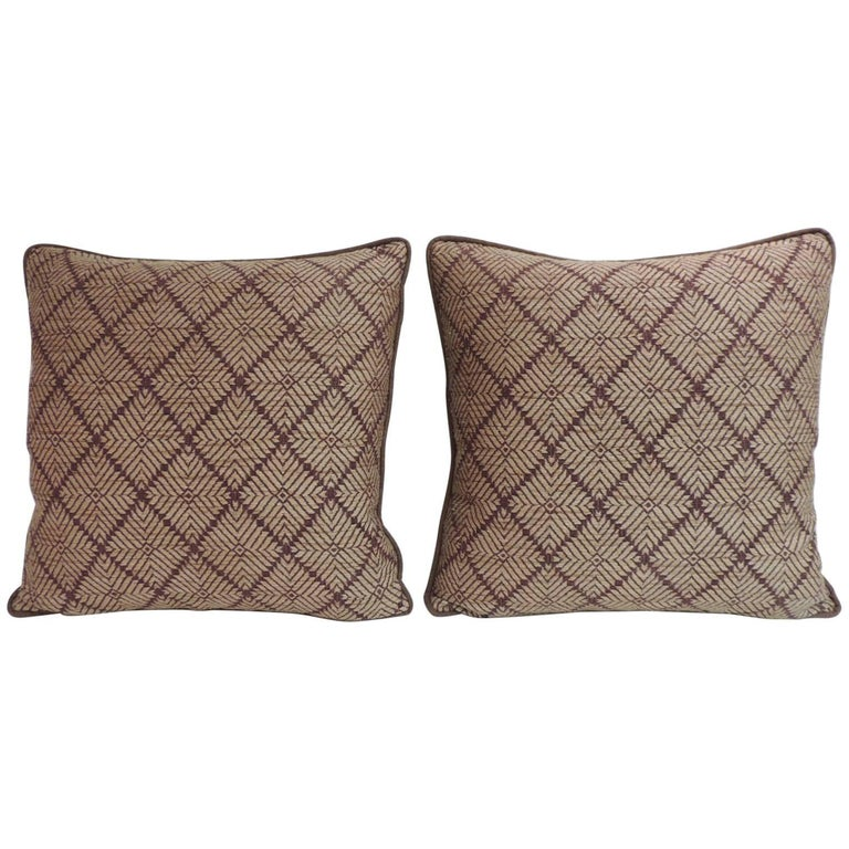 Pair of Dark Brown African Artisanal Textile Embroidery Decorative Pillows For Sale