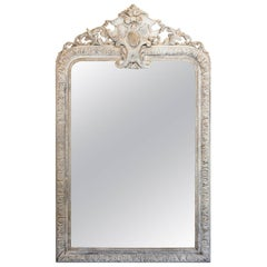 19th Century French Carved Louis Philippe Mirror in Greige and Gilt Finish