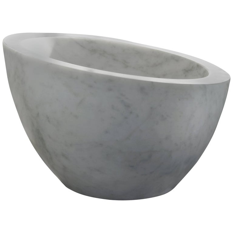 Salvatori Uovo Basin in Bianco Carrara Marble For Sale