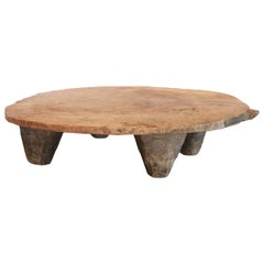 Fabulous Hand Carved Wood Rustic Footed Tray