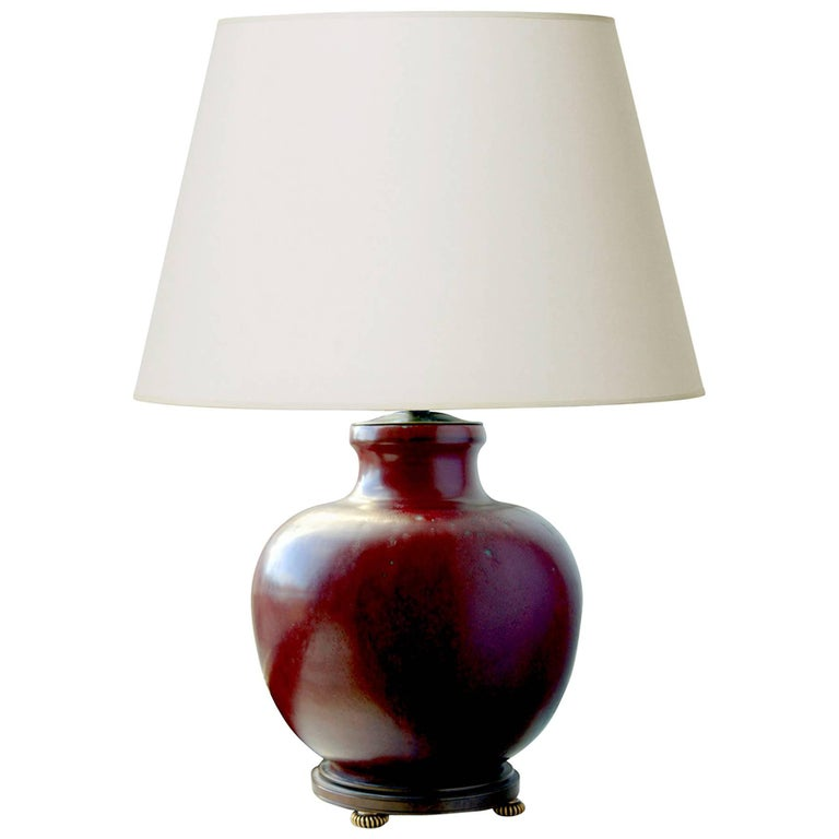 Oxblood Glazed and Bronze Mounted Table Lamp by Carl Halier for RC For Sale