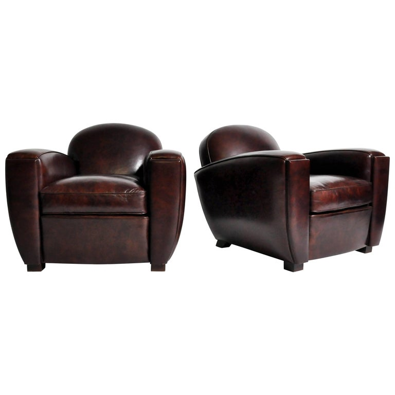 Pair of Parisian Low-Back Maroon Leather Club Chairs