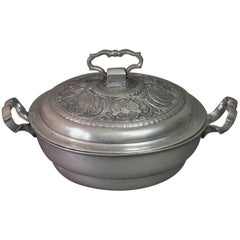 Very Fine Pewter Ecuelle or Lidded Porringer, 18th Century
