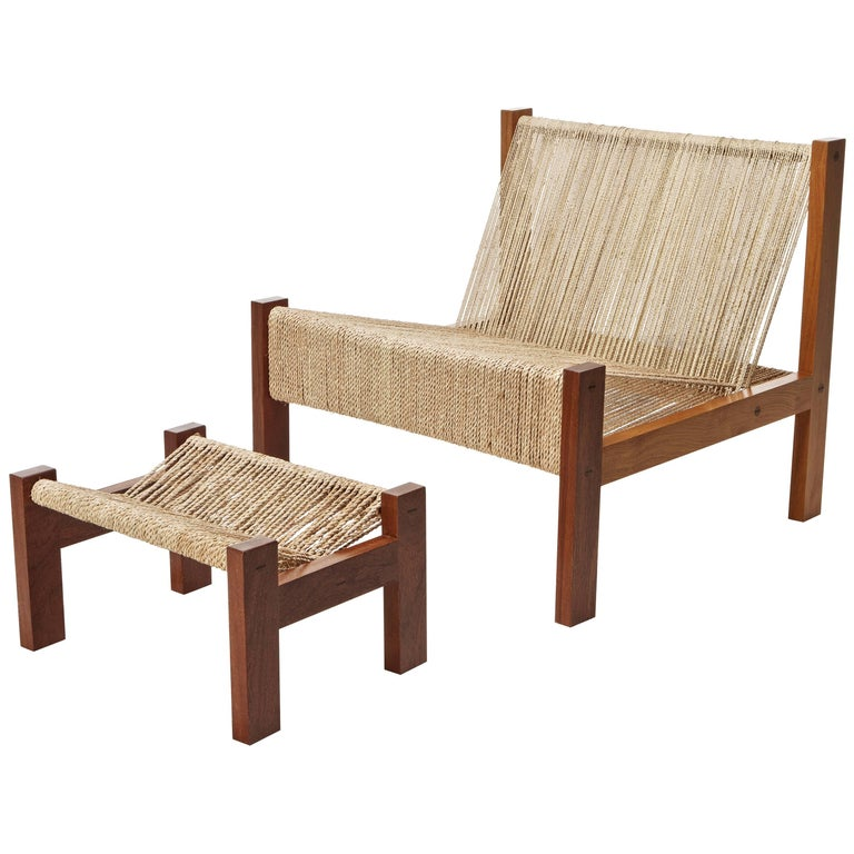 Contemporary Lounge Chair and Ottoman in Brazilian Hardwood