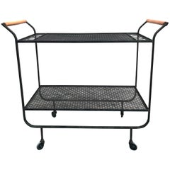 Rare, 1950s Modernist Frederick Weinberg Wrought Iron Bar Cart