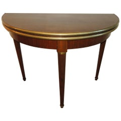 Antique French Demilune Game Table