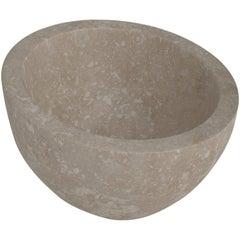 Salvatori Uovo Basin in Light Travertine Natural Stone