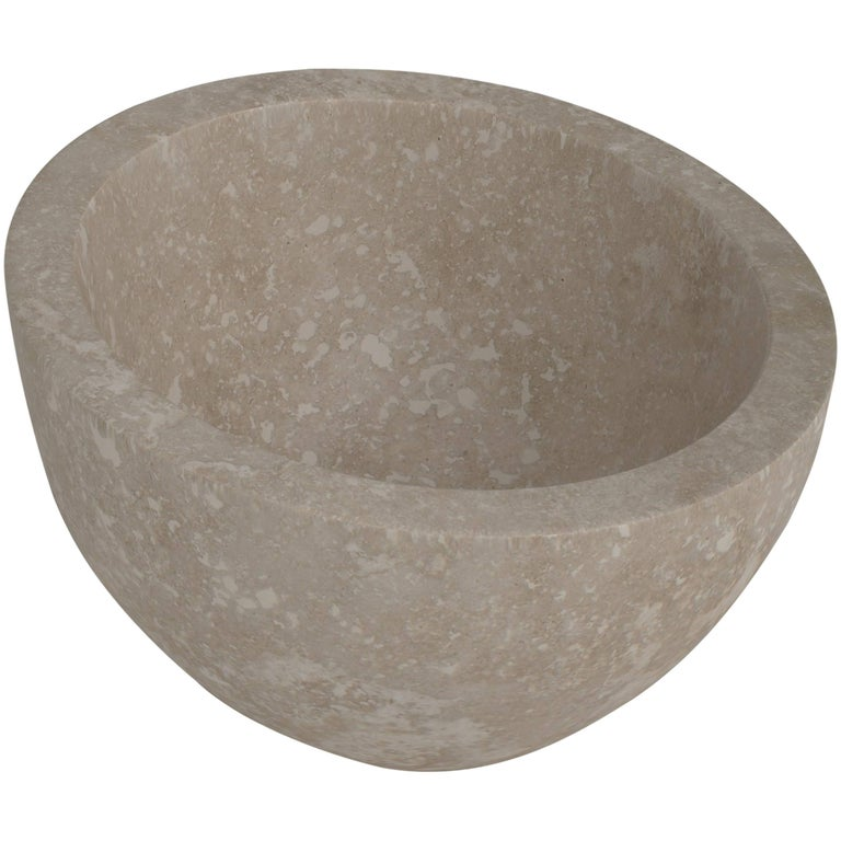 Salvatori Uovo Basin in Light Travertine Natural Stone For Sale