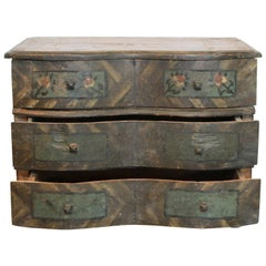 Early 19th Century Painted Jewelry Box from a Southern Swiss Alp Farmhouse