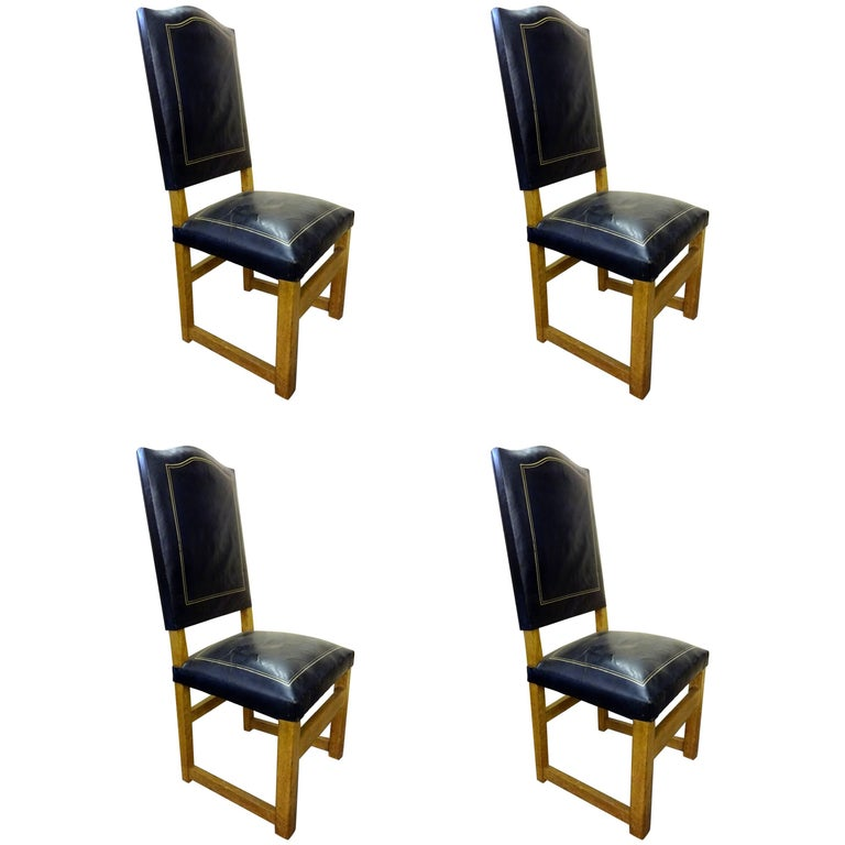 Set of Four Leather High Back Chairs in the Manner of Jacques Adnet