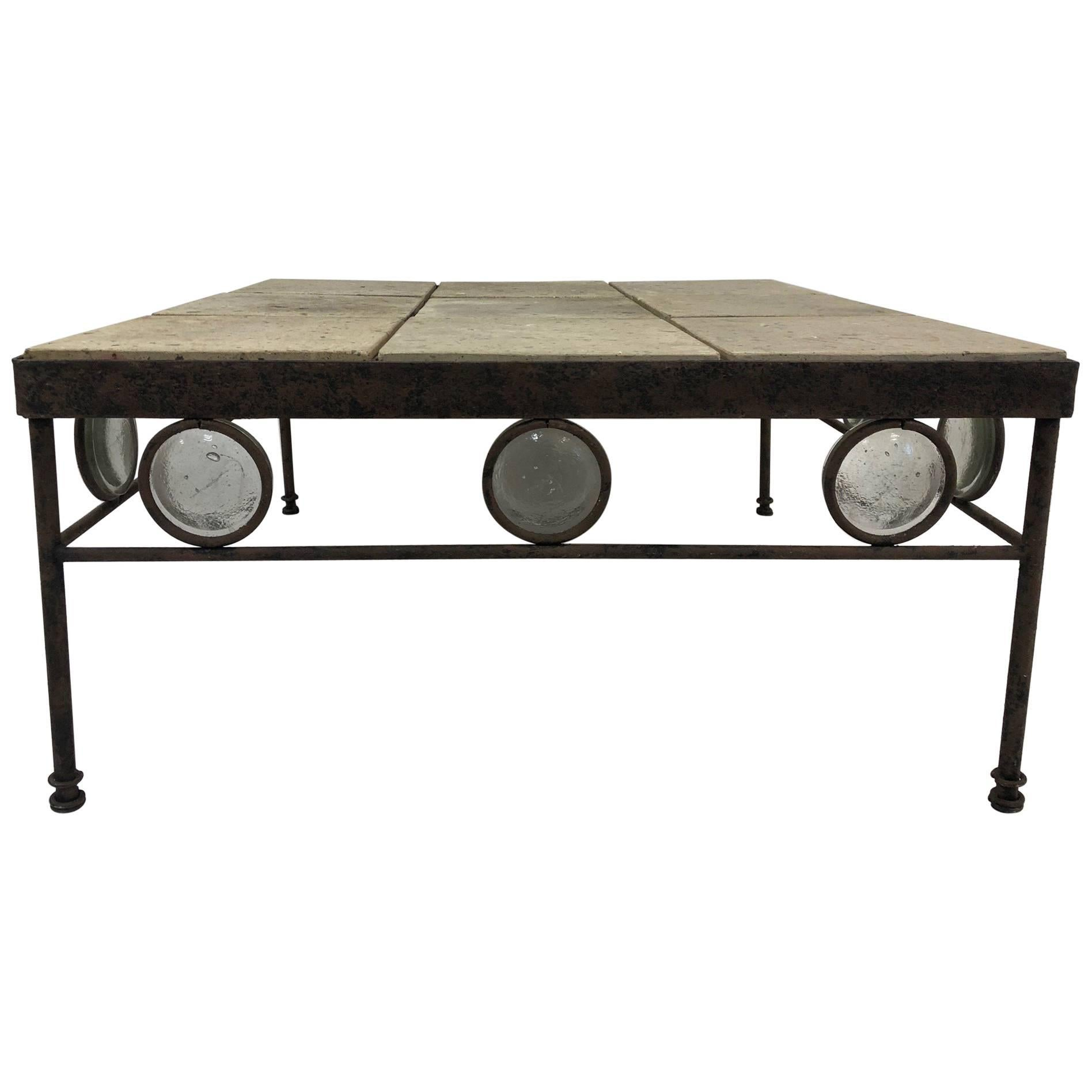 Antique, Italian Wrought Iron And Stone Top Coffee Table