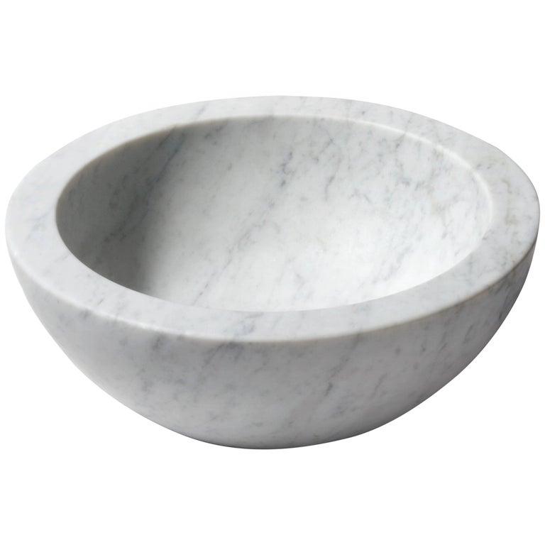 Salvatori Zuppiera Basin in Bianco Carrara Marble For Sale