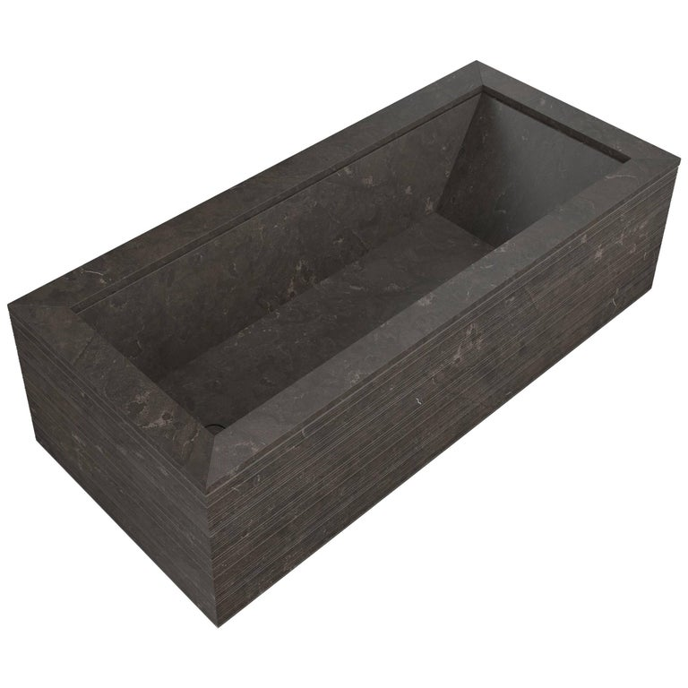 Salvatori Oyster Bathtub in Pietra d'Avola Stone with Bamboo Texture For Sale