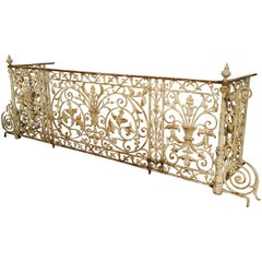 Circa 1860 Painted Cast Iron Balcony Railing from Montpellier, France