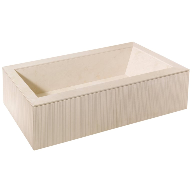 Salvatori Oyster Bathtub in Crema d'Orcia Stone with Raw Texture For Sale