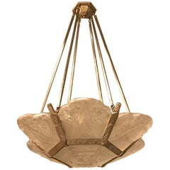 French Art Deco Chandelier with Geometric and Floral Motif