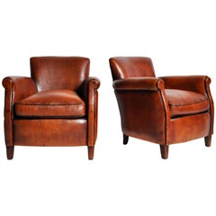 Pair of Parisian Brown Leather Club Chairs with Dark Brown Piping
