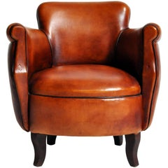 Parisian Tulip Leather Club Chair with Dark Piping