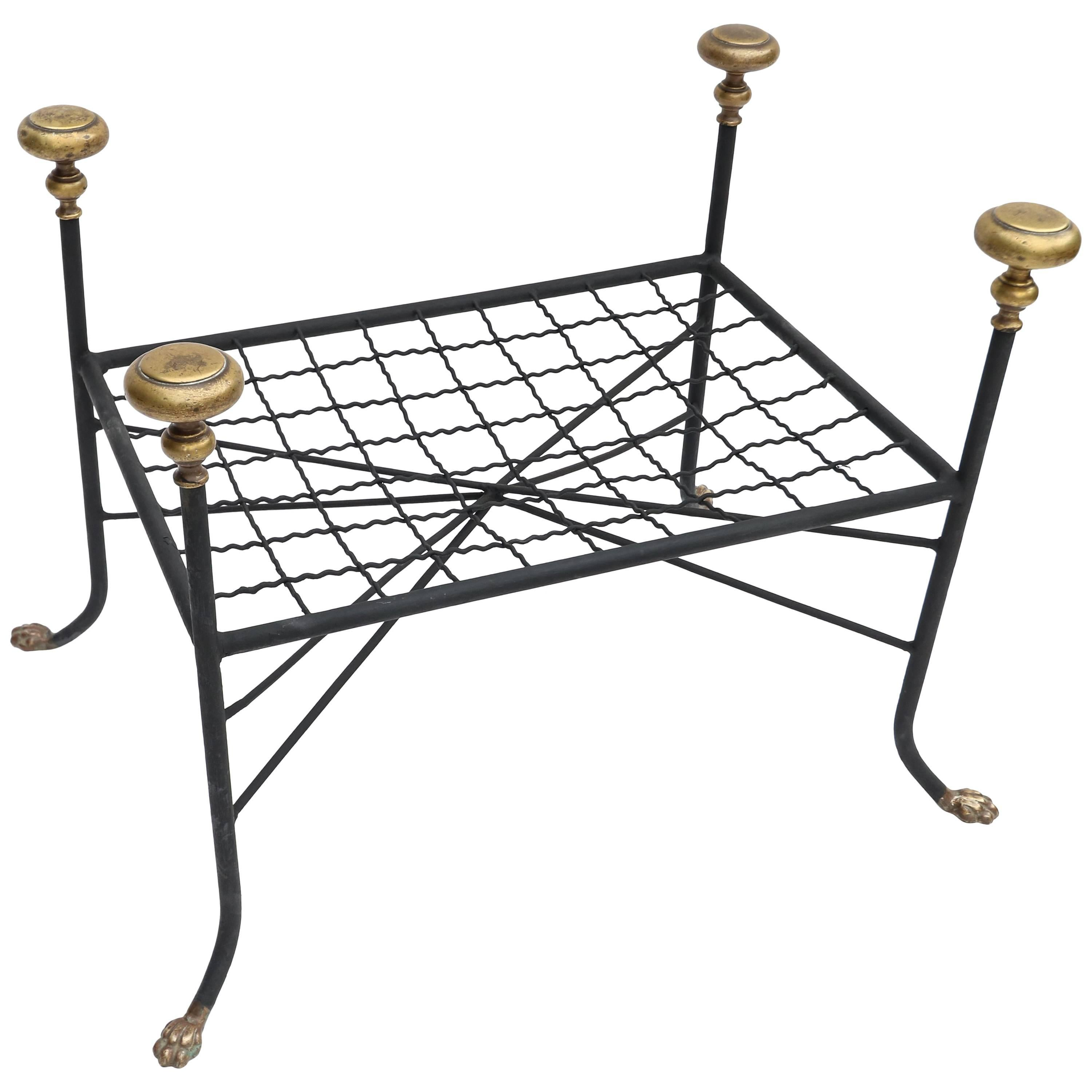 Black Metal Bench or Stool with Brass Finials and Claw Feet
