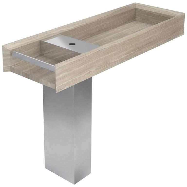 Salvatori Onsen Pedestal Basin in Silk Georgette® Stone by Rodolfo Dordoni For Sale