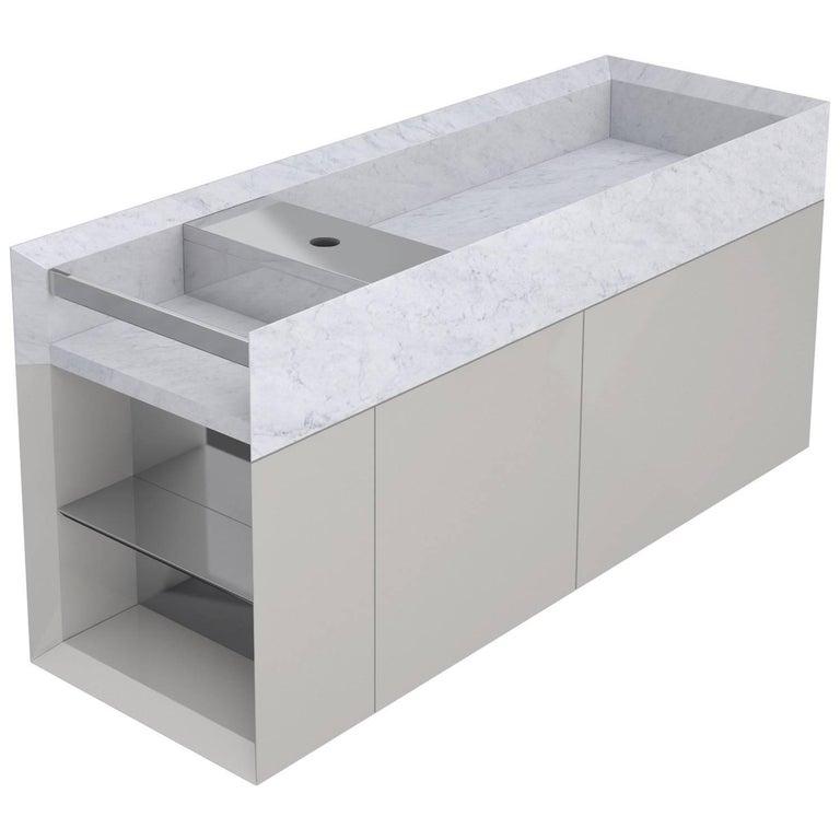 Salvatori Onsen Cabinet Basin in Bianco Carrara Marble by Rodolfo Dordoni For Sale