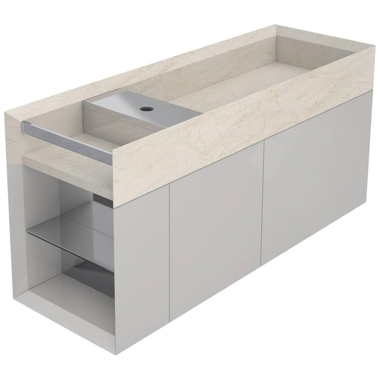 Salvatori Onsen Cabinet Basin in Crema d'Orcia Natural Stone by Rodolfo Dordoni For Sale