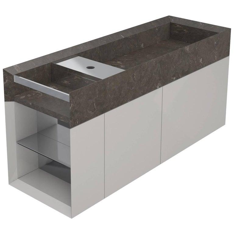 Salvatori Onsen Cabinet Basin in Pietra d'Avola Natural Stone by Rodolfo Dordoni For Sale