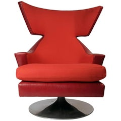 Joe D'Urso Leather Wing Back Swivel Lounge Chair for Knoll