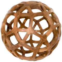 Contemporary Mexican Handcrafted Geometric Archimedean Sphere Walnut Sculpture