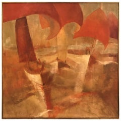 "James Twitty Oil on Canvas Titled ""Red Red Spinnakers"" Signed"