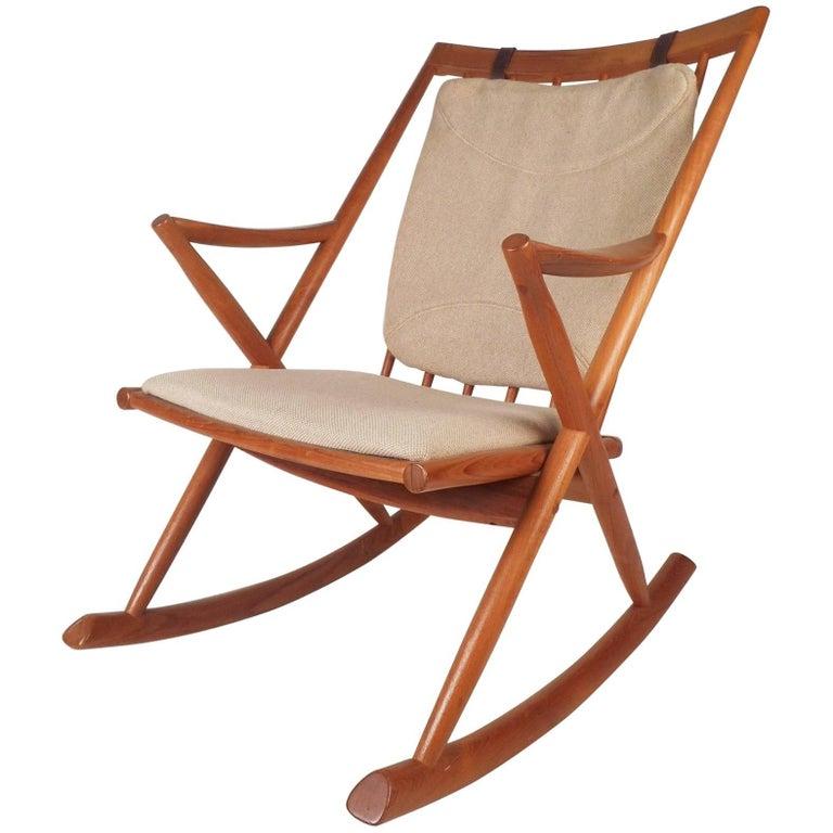 Mid-Century Modern Danish Rocking Chair by Frank Reenskaug for Bramin Mobler